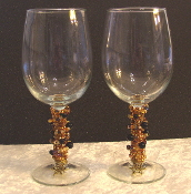 Gold and Black Onyx Beaded Wine Glasses