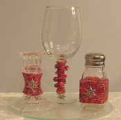 Pomegranate Red Beaded Havdalah Set