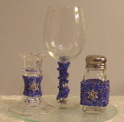 Indigo Blue Beaded Havdalah Set