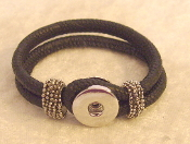 Black Imitation Leather Snap Button Bracelet