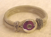 Silver Imitation Leather Snap Button Bracelet