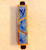 Copper Enamel Mezuzah - Deep Blues