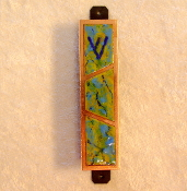 Copper Enamel Mezuzah - Green, Aqua and Blue