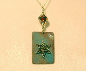 Copper Enamel Necklace - Teal