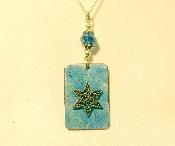 Copper Enamel Necklace - Sky Blue