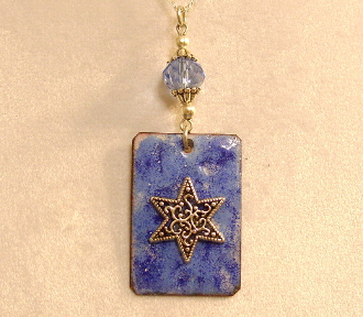 Copper Enamel Necklace - Blue I