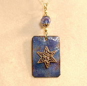 Copper Enamel Necklace - Blue II