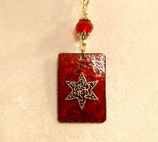 Copper Enamel Necklace - Bright Crimson