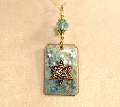 Copper Enamel Necklace - Aqua Mix