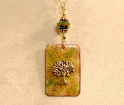 Copper Enamel Necklace - Light Green Tree