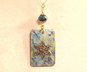 Copper Enamel Necklace - Light Blue Mix