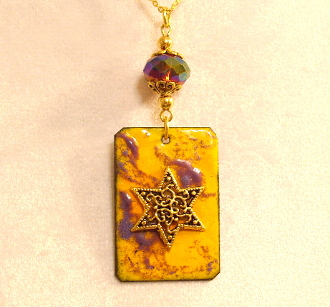 Copper Enamel Necklace - Golden Yellow and Violet
