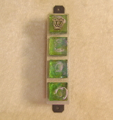 Glass Tile Mezuzah - Iridescent Green Glass on Aluminum