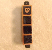 Glass Tile Mezuzah - Black Glass on Copper Base