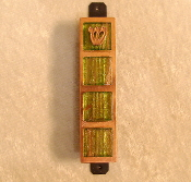 Glass Tile Mezuzah - Green with Gold Threads on Copper