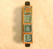 Glass Tile Mezuzah - Aqua on Copper