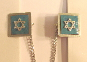 Copper Enamel Tallit Clips - Teal