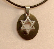 Star of David Necklace - Silver in Black Background