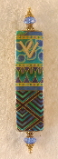 Elegant Mezuzah - Blue and Green Geometrics