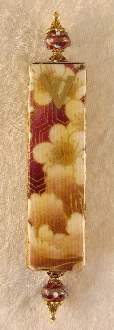 Elegant Mezuzah - Asian Flowers in White and Gold