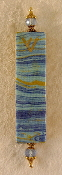 Elegant Mezuzah - Waves of Blue with Gold Threads