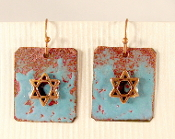 Rustic Copper Enamel Earrings - Aqua