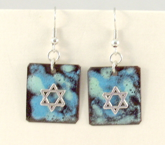 Copper Enamel Earrings - Blue and Mint Green