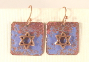 Rustic Copper Enamel Earrings - Ultramarine Blue