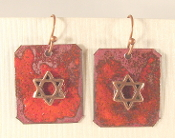 Rustic Copper Enamel Earrings - Flame Red