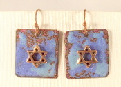 Rustic Copper Enamel Earrings - Mixed Blues