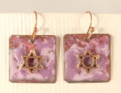 Rustic Copper Enamel Earrings - Purple and Lavender