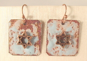 Rustic Copper Enamel Earrings - Sky Blue