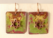 Rustic Copper Enamel Earrings - Forest Greens