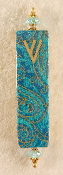 Elegant Mezuzah - Teal Paisley with Gold Stampings