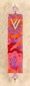 Elegant Mezuzah - Pink, Red and Purple Swirls Batik