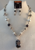 Zebra Agate Statement Necklace with Reversible Pendant