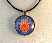 Glass Pendant - Red Hamsa