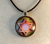 Glass Pendant - Star of David in Pink and Brown
