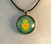 Glass Pendant - Yellow Hamsa