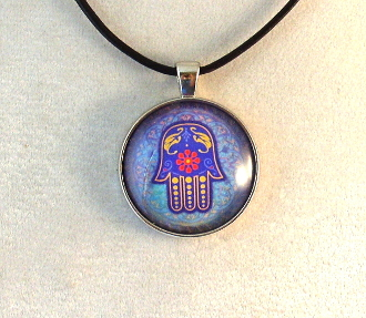 Glass Pendant - Blue and Purple Hamsa