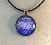 Glass Pendant - Star of David with Scroll