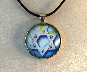 Glass Pendant - Blue Star of David