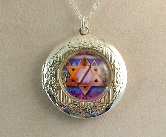 Lockets - Red Star of David with Scroll