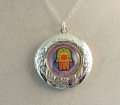 Lockets - Multicolored Hamsa on Lavender Background