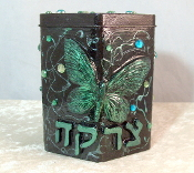 Tzedakah Box - Rain Forest Green Butterfly
