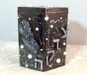 Tzedakah Box - Silver Feather
