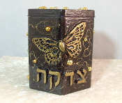 Tzedakah Box - Gold Butterfly on Black