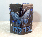 Tzedakah Box - Blue and Silver Butterfly