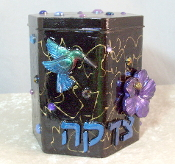 Tzedakah Box - Ruby Throated Hummingbird on Purple Hibiscus