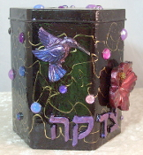 Tzedakah Box - Pink and Purple Hummingbird on Red Hibiscus